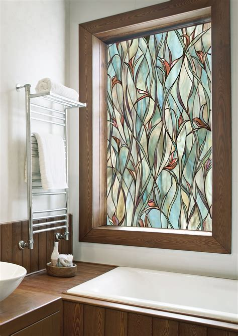 Decorative Window Panels by Stained Glass Panels Non Adhesive Frosted Privacy Flowers