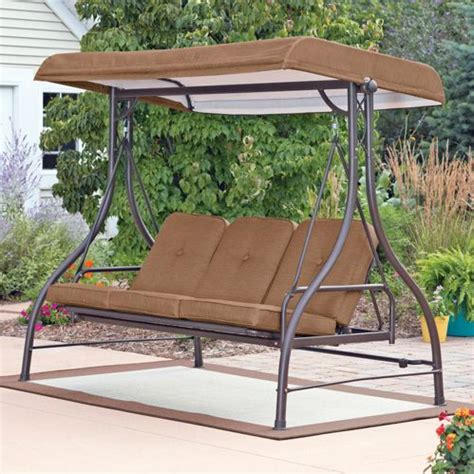 covered patio swing 3 seat swing with canopy