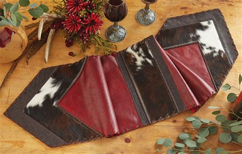 Red Leather Cowhide Table Runner 12 X 72 Cowhide Table Runner