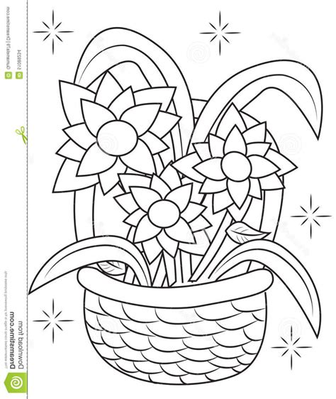coloring pages of flower baskets flower basket coloring pages coloring pages ideas reviews