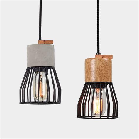 metal cage pendant light buy timber concrete metal cage pendant light