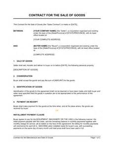 contract for the sale of goods template sle form