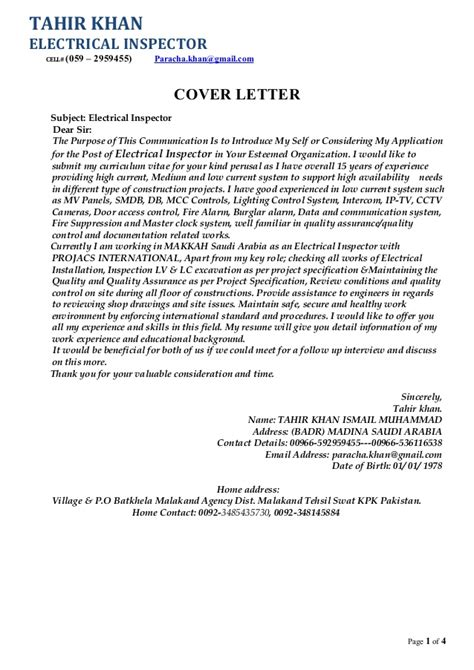 Electrical Inspector Cover Letter by My Updated Cv With Cover Letter Copy