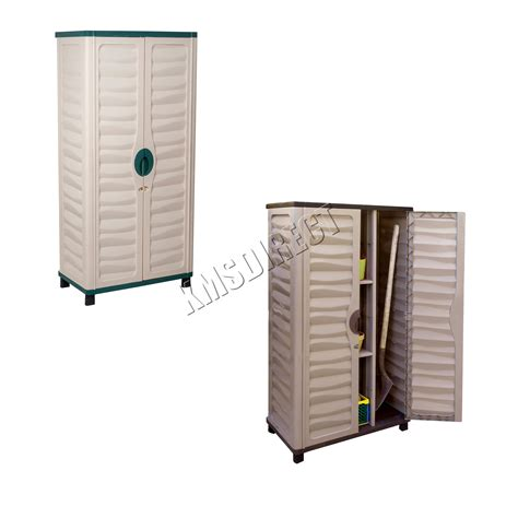 Plastic Outdoor Storage Cabinet Starplast Outdoor Plastic Garden Utility Cabinet With Partition Storage 46 811 Ebay
