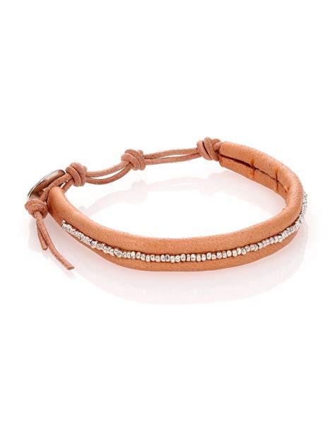 chan luu sterling silver leather beaded wrap bracelet in
