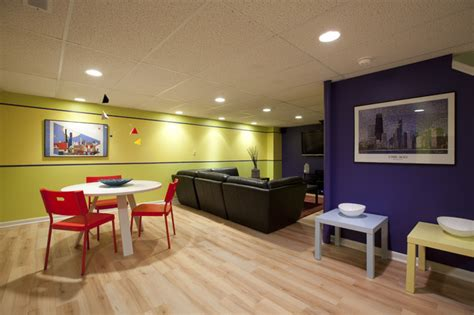 modern colorful basement contemporary family room