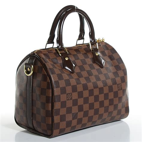 louis vuitton damier with chocolate accents classic canvas louis vuitton damier ebene speedy bandouliere 25 105497