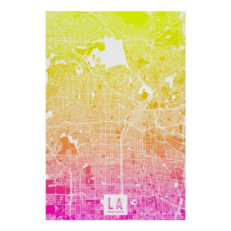 map of los angeles poster colors of los angeles map poster zazzle
