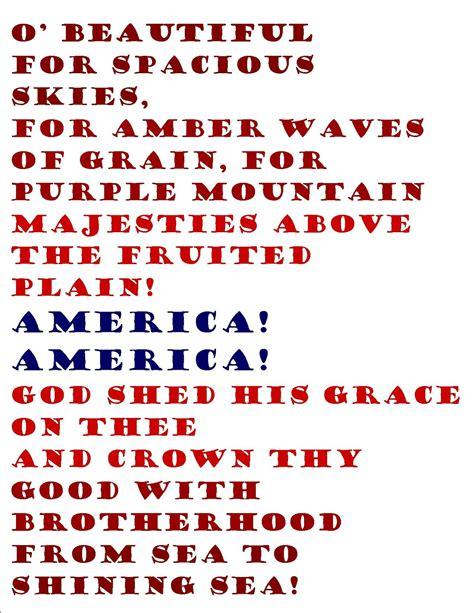 printable lyrics america the beautiful free 4th of july printables pretty providence