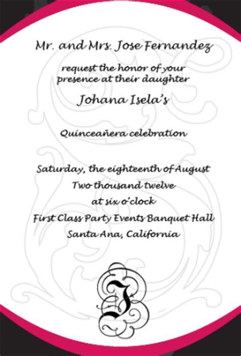 quinceanera sle wording invitation cards template how should i word my quinceanera invitations