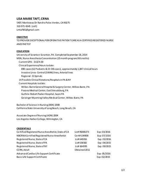 crna resume exles crna resume march 15