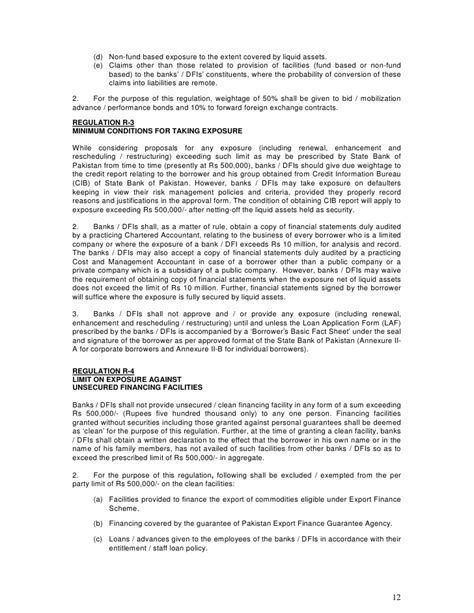 State Bank Of Pakistan Letter Of Credit Prudential Regulations For Corporate Commercial Banking