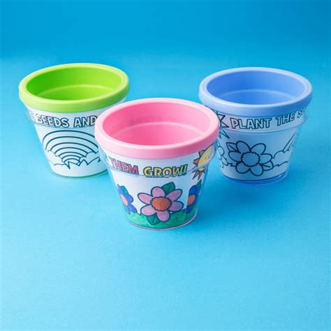 design your own flower pots pink plastic colour your own flower pot art and craft