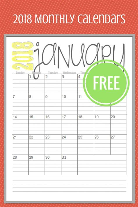 printable monthly calendar 2018 pinterest pretty calendar 2018 printable one page with space for