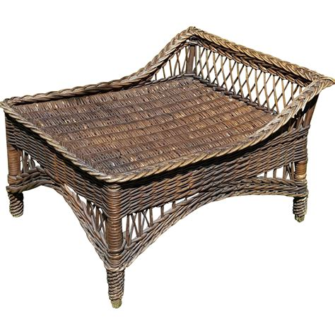 vintage wicker ottoman vintage bar harbor natural wicker ottoman footstool circa