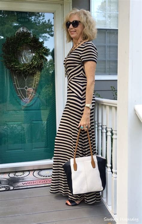 fashion over 50 maxi dress southern hospitality fashion over 50 striped maxi and black wedge shoes