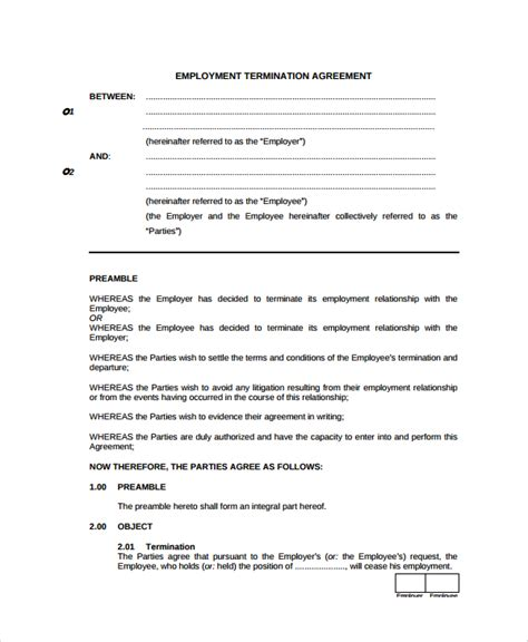 template of termination of contract sle employment termination agreement templates 5