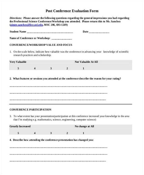 Post Event Survey Sle Questions Conference Evaluation Form Modern Day Capture More Prayer Conference Evaluation Form Template