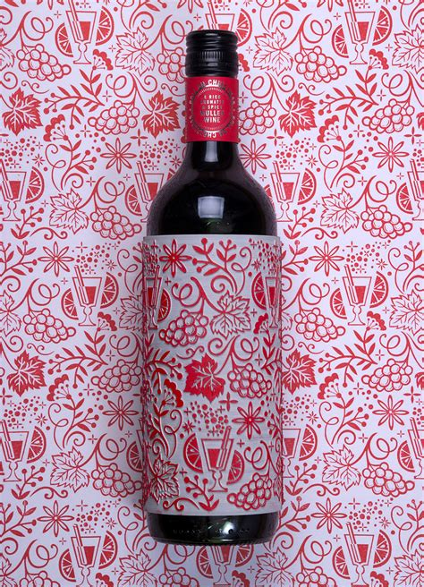 unique  festive wine label  serves   decorative stamp  dieline packaging