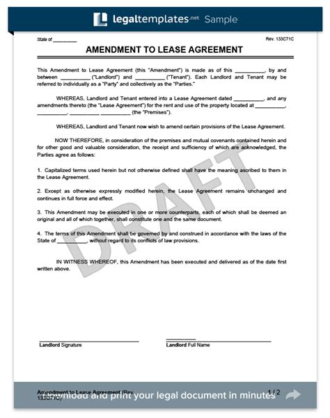 lease amendment form lease amendment form create a free lease amendment template