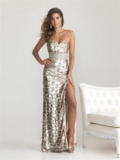 formal beaded dresses sparkly allover sequin sweetheart strapless slit