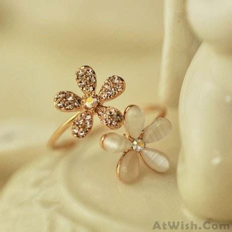 Flower Open Ring opal rhinestone flower open ring fashion rings