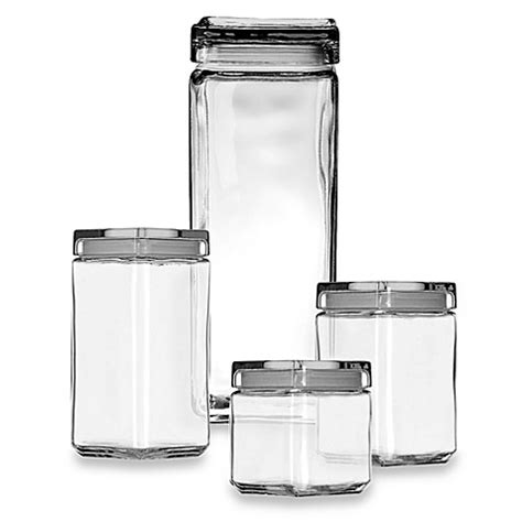 glass kitchen storage canisters buy anchor hocking 174 1 quart stackable square canister from bed bath beyond