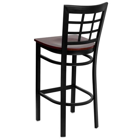 Restaurant Metal Bar Stools | black window back metal restaurant barstool with mahogany wood seat bfdh 85mwbarniw