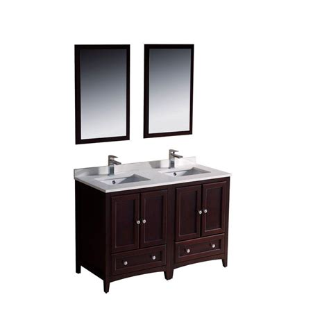 Home Depot Bathroom Vanities 48 Fresca Oxford 48 In Vanity In Mahogany With Ceramic Vanity Top In White With White