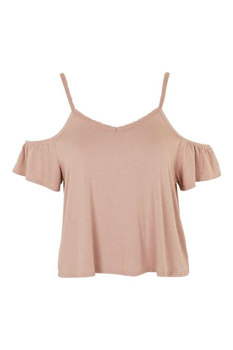 Frilled Shoulder Top frilled cold shoulder top topshop usa