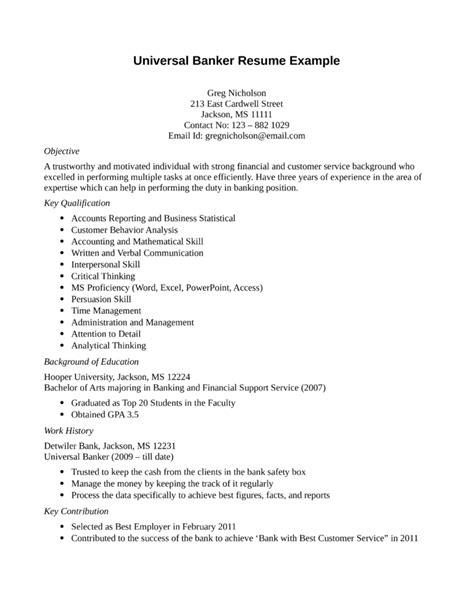 Universal Banker Sle Resume by Entry Level Freshers Universal Banker Resume Template