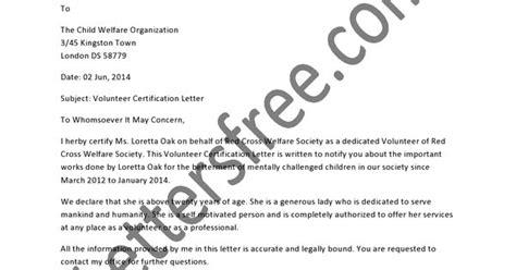certification letter for volunteer work sles of volunteer certification letter that acknowledge