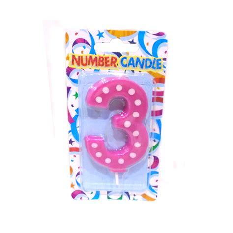 Dots Number Candle 3 number pink polka dot candle