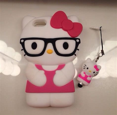Iphone Hello Pink Glasses hjx pink iphone 5 lovely 3d glasses hello soft silicone protective