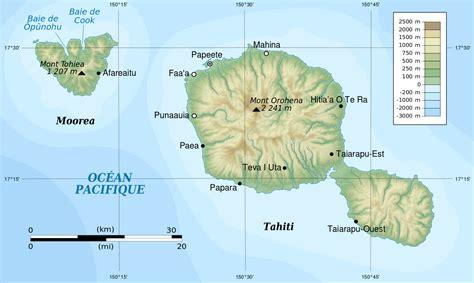 tahiti  moorea topographique carte populationdatanet