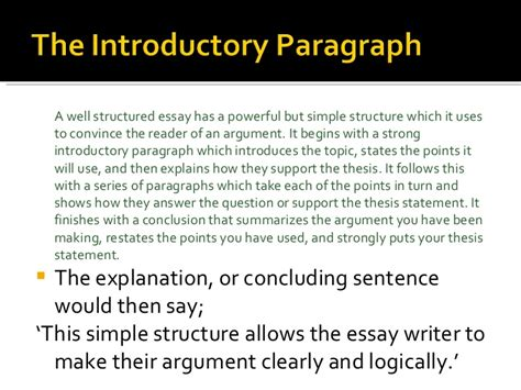 Well Structured Essay by A Well Structured Essay