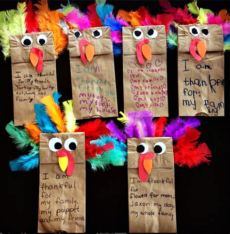 Thanksgiving Paper Bag Crafts - paper bag turkey puppets thanskgiving craft crafty morning