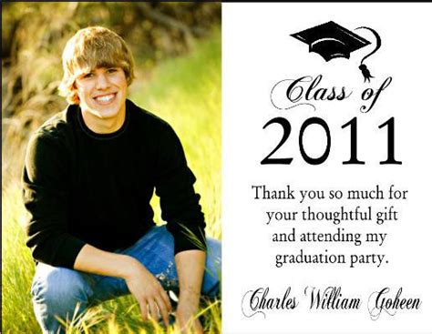 Thank You Note Template Graduation Money Graduation Graduate Photo Thank You Note Cards Personalized Custom Ebay