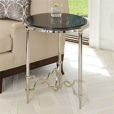Quatrefoil Side Table Global Views Quatrefoil Side Table Nickel With Black Granite Top