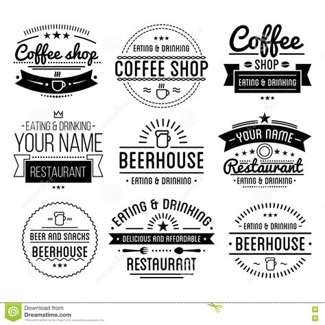 restaurant layout with labels black logo coffee shop template restaurant label beer