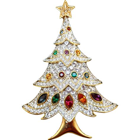 swarovski christmas tree brooch from antiqueali on ruby lane