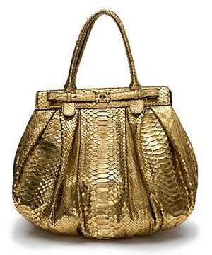 Zagliani Metallic Python Handbag Small Chagne by Zagliani Metallic Python Handbag It Or It