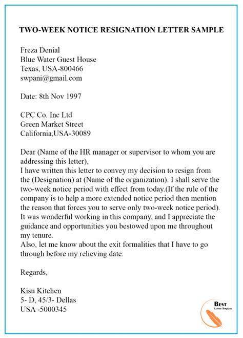 sample resignation letter notice notice period