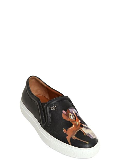 givenchy sneakers givenchy printed leather slip on sneakers in black