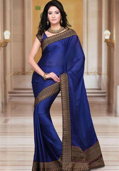 Baju Blouse Blus Royal Satin royal blue faux satin chiffon saree with blouse http www utsavfashion in saree royal blue faux