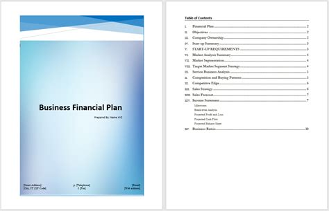 financial business plan template business financial plan template microsoft word templates