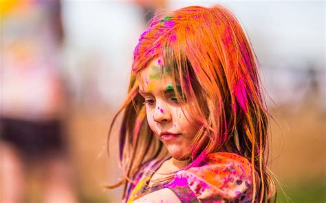 holi special girl image festival of colors sweet girl child close up hd wallpaper