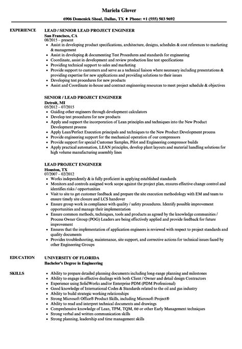 resume format for project engineer lead project engineer resume sles velvet