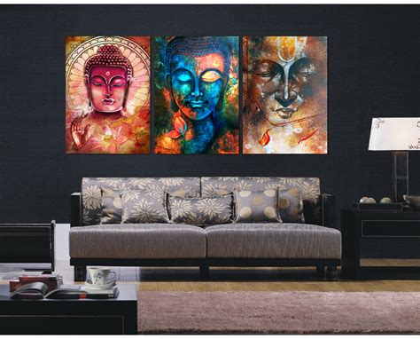 room canvas 3 pieces buddha image portrait painting canvas wall picture home decoration living room