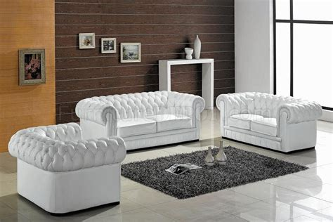 White Leather Living Room Chair - ultra modern 3pc living room set leather white